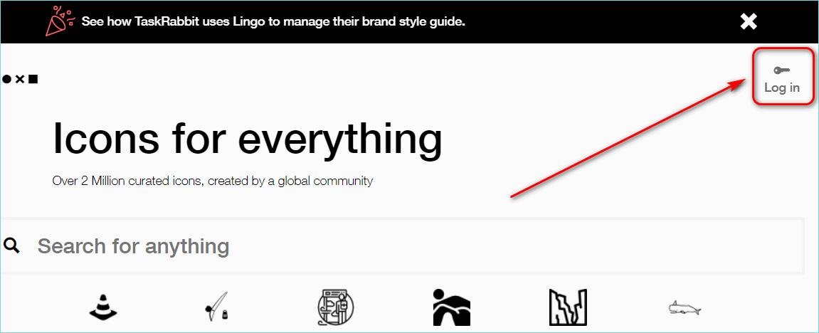Кнопка log in на сайте Noun project